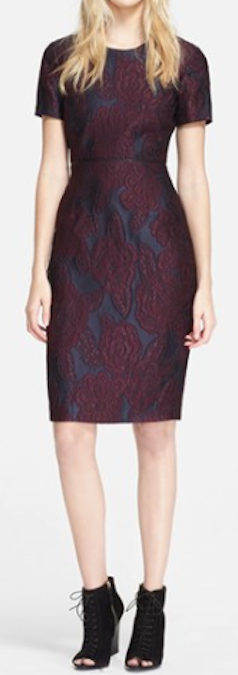 leather trim jacquard sheath dress  http://rstyle.me/n/p5mv6pdpe