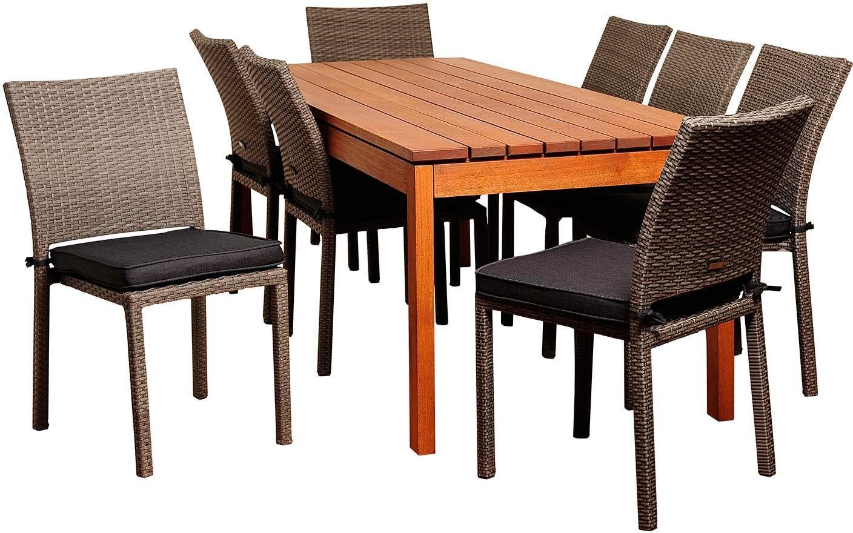 Oceanwood Gray Wicker 9 Piece Rectangular Patio Dining Set ...