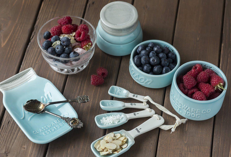 Amazon.com: Mason Jar spoon rest+Measuing spoons+.Mason Jar Measuring cups: Kitchen & Dining