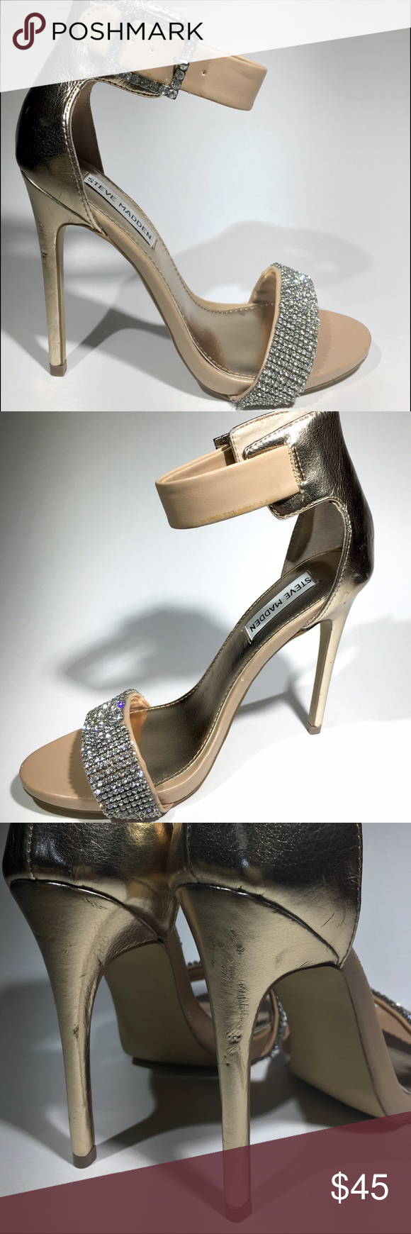 Steve Madden Rhinestone Strappy Open Toe Heels Heels have never been worn, minor scuffs on heels. Pictures show all defects. New, no tags. Steve Madden Shoes Athletic Shoes