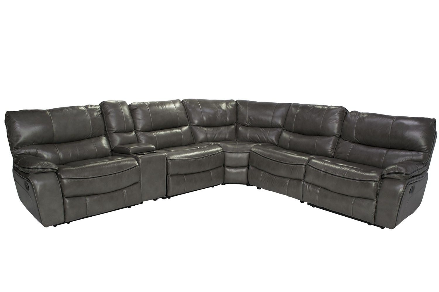 Best Lotus Gray 6 Piece Leather Seating Reclining Sectional 400 x 300