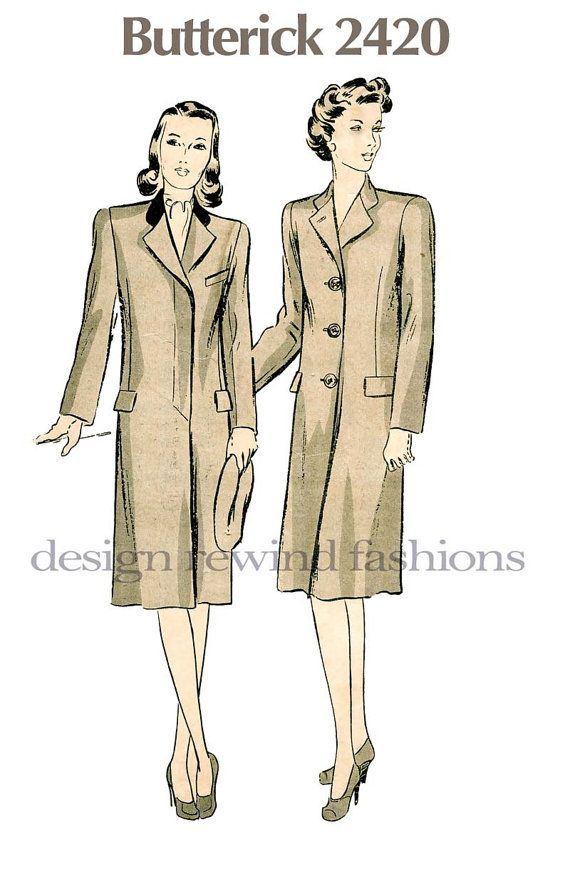 1930s Misses Tailored CHESTERFIELD Coat, Contrast Collar- Day ...