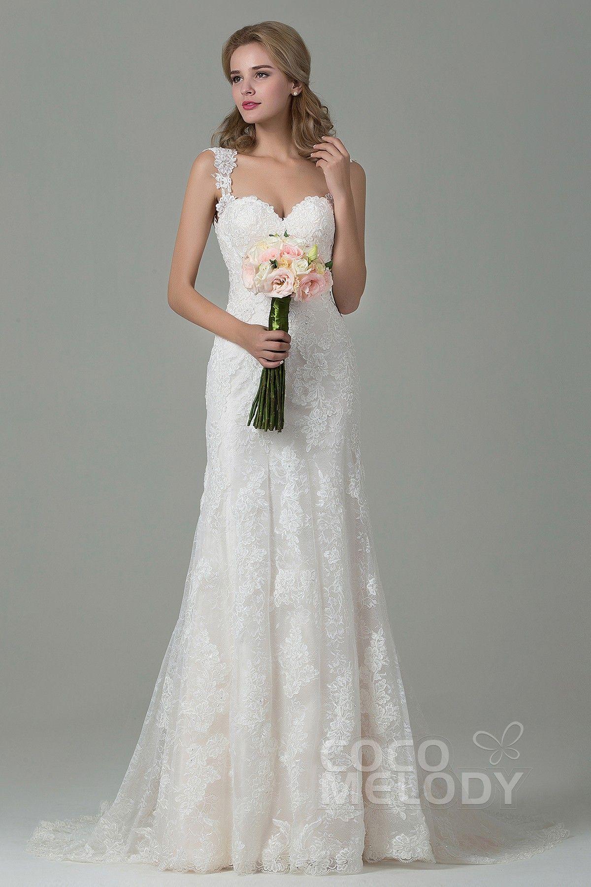 [ USD 529 ] SheathColumn Straps Court Train Wedding