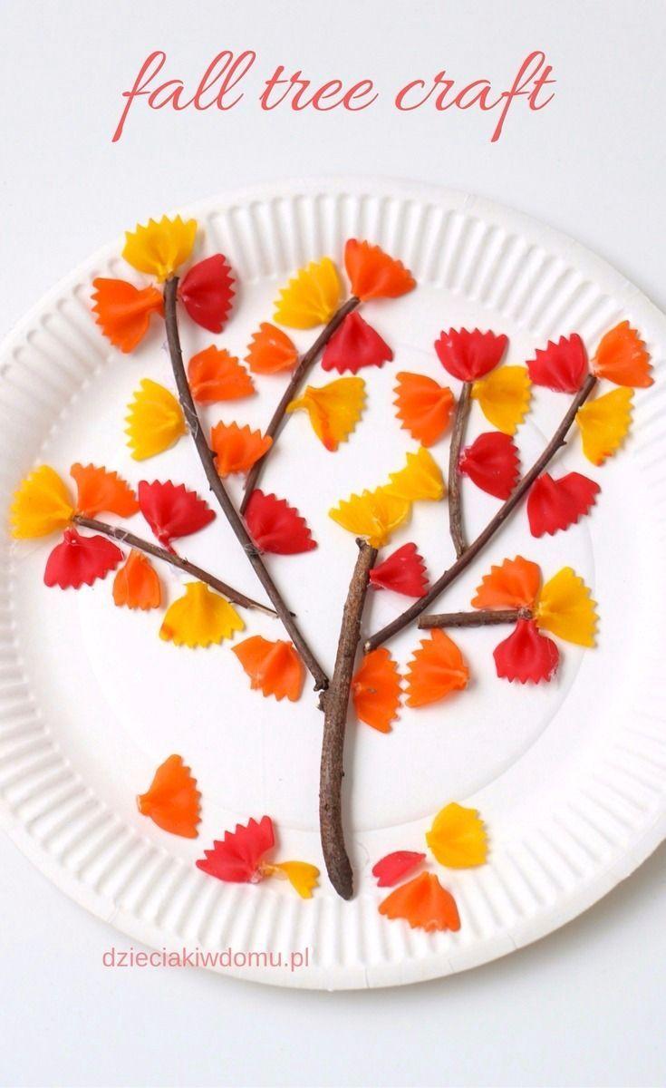 jesienne drzewko z kolorowego makaronu fall tree craft for kids automne bricolage automne. Black Bedroom Furniture Sets. Home Design Ideas