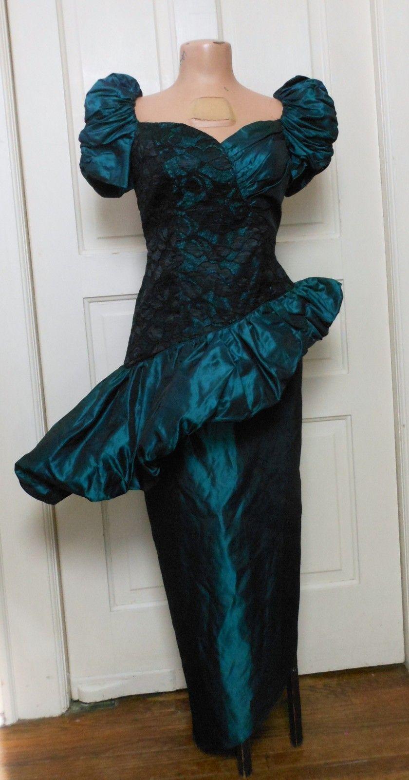 Vtg s peplum puff sleeve green black lace avant garde pencil prom