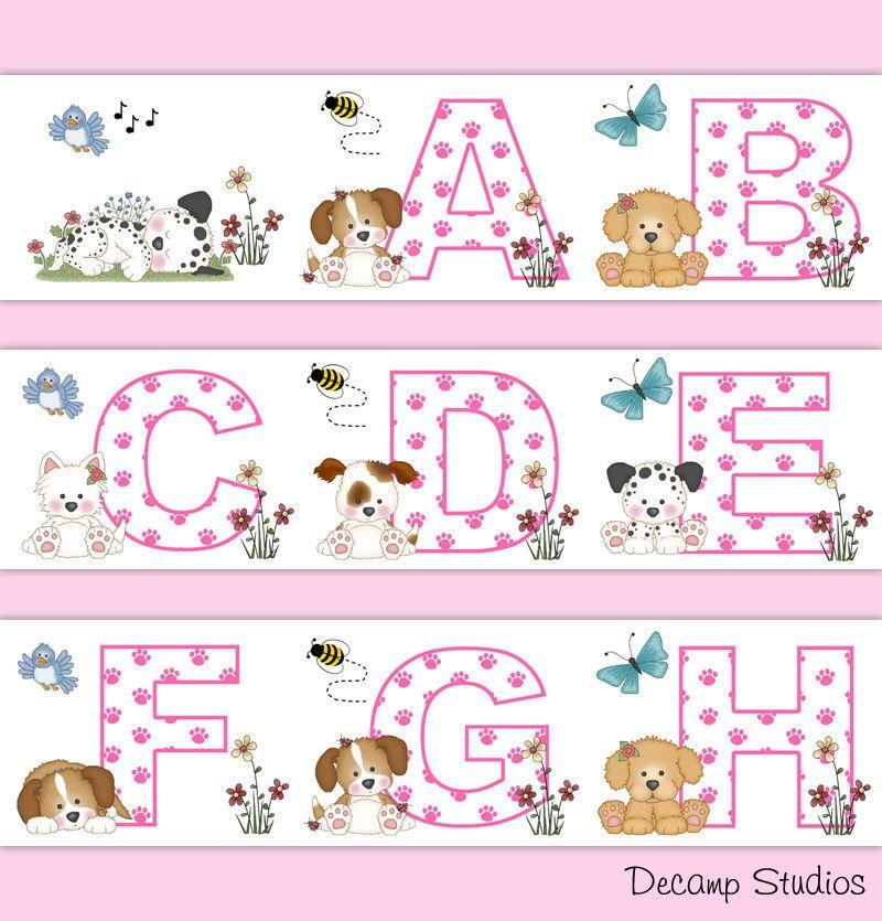 Pink Puppy Nursery Border Decals Alphabet Abc Wall Art Baby Girl Floral Decor Decampstudios Wall Stickers Baby Girl Baby Girl Wallpaper Baby Girl Decor