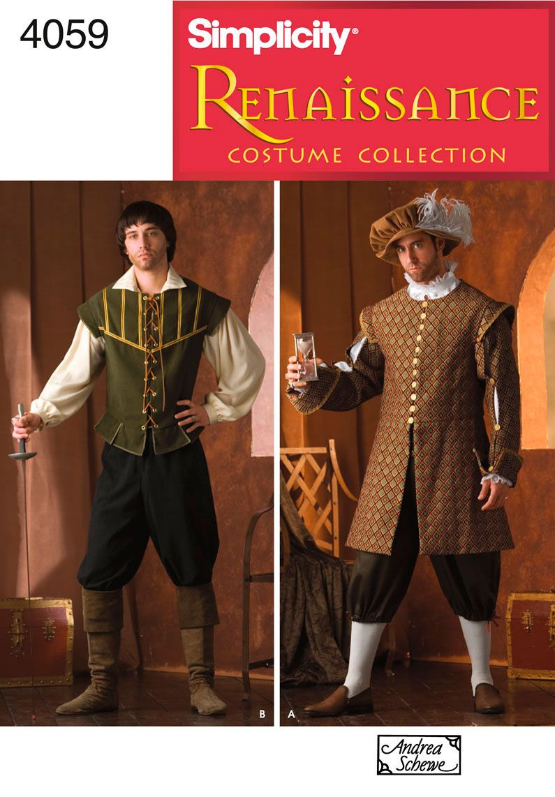 Mens Renaissance Costume Sewing Pattern 4059 Simplicity | Costumes ...