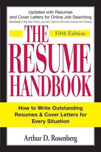 The Curriculum Vitae Handbook The Resume Handbookarthur D Rosenberg Httpwwwamazoncadp