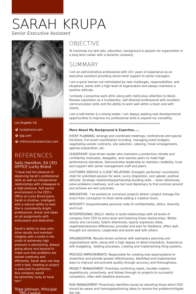 Exceptional Senior Executive Assistant  Office Of The Ceo Resume Example