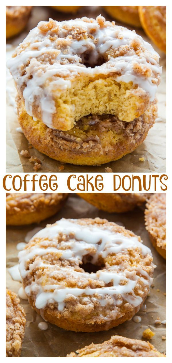 Coffee Cake Donuts with Vanilla Glaze #donutcake