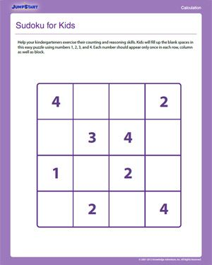 photo regarding Sudoku for Kids Printable referred to as Sudoku for Little ones - Totally free Important Wondering Worksheet for Youngsters
