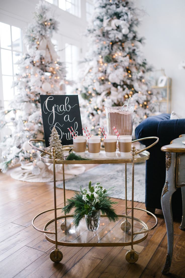 Charming Christmas Home Decor And Coffee Station  Rach Parcell Pink Peonies