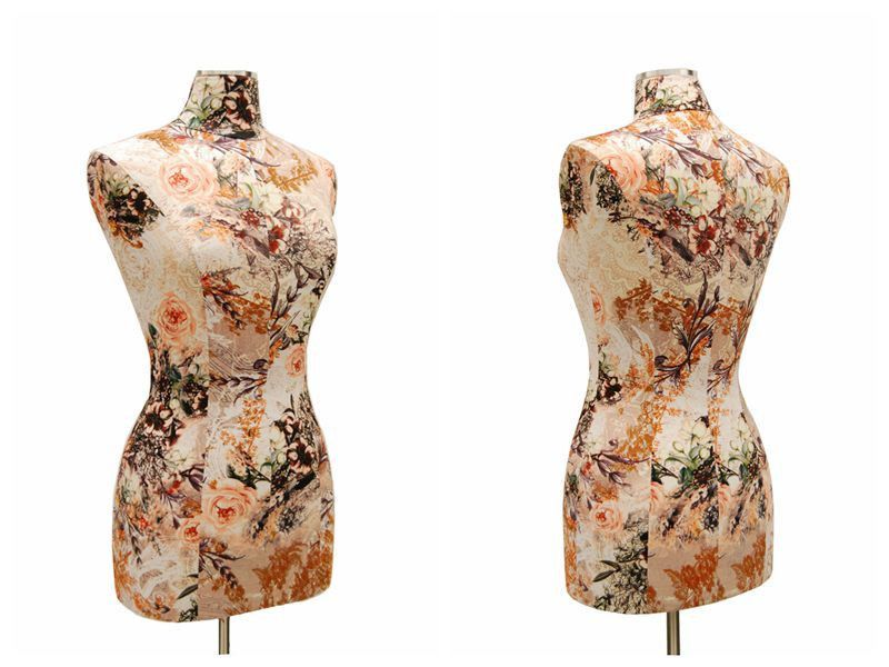 Female Dress Form: Floral Pattern in Peach/Brown – Mannequin Madness
