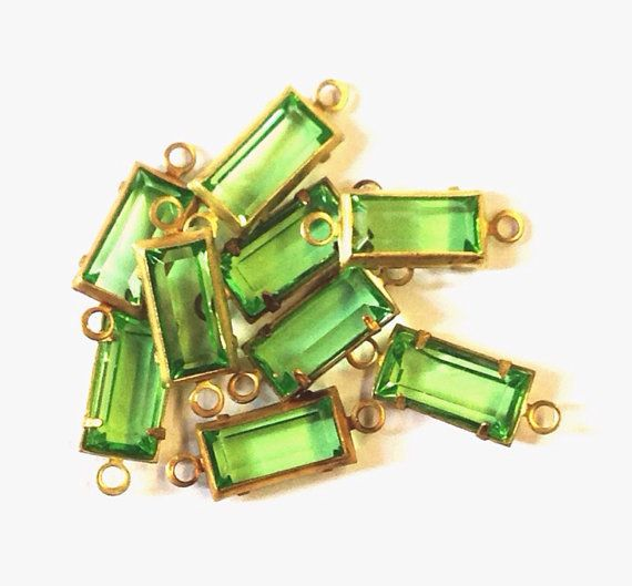 6 Vintage Swarovski 10x5mm Crystal Peridot 2 Loop Channel/Prong Set Baguettes, Connectors, Article 963 via Etsy
