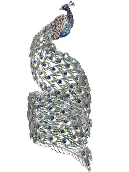 Peacock Cuff, Chopard: Proof that the peacock motif has fired imaginations across jewellery brands, Chopard's pretty bird piece, part of the luxury jewellery brand's 150th anniversary Animal Collection.  Available at Emporio, New Delhi and The Oberoi, Mumbai; price: on request.