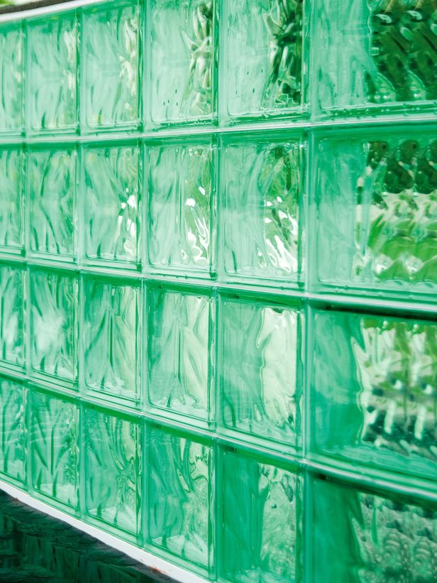 Glass Wall Blocks Create Reflective Partition Glass Blocks Are Used For A  Reflective Partition Wall Outside