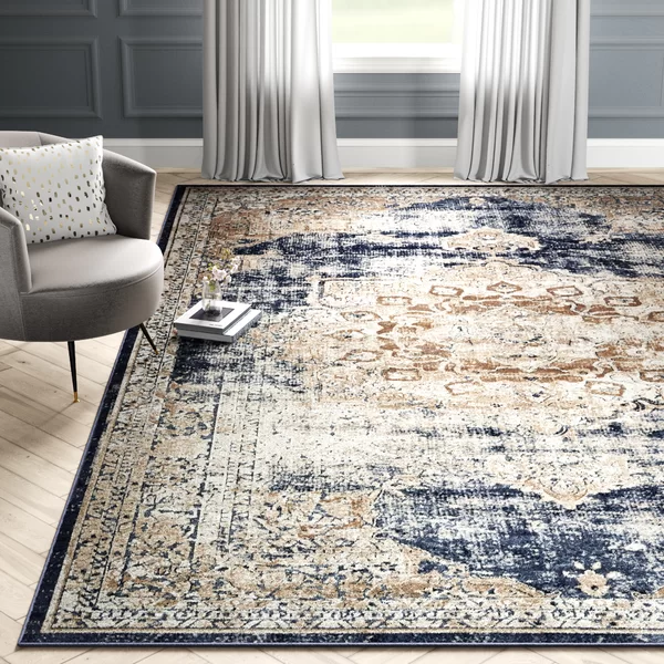 Three Posts Landes Oriental Dark Blue Beige Area Rug Living Room Area Rugs Rugs In Living Room Blue Area Rugs