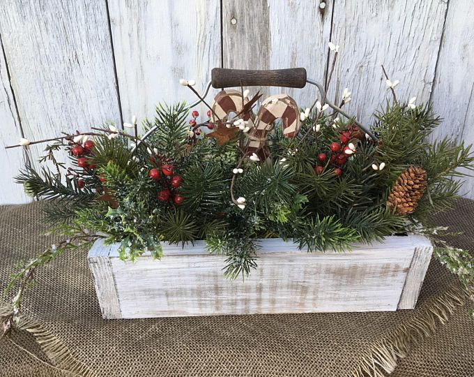 A Winter Or Christmas Arrangement In A Primitive Wooden Vintage Looking Box With Rustic Metal Joy Sign Winter Centerpiece Christmas Decor Christmas Arrangements Centerpieces Christmas Arrangements Christmas Centerpieces
