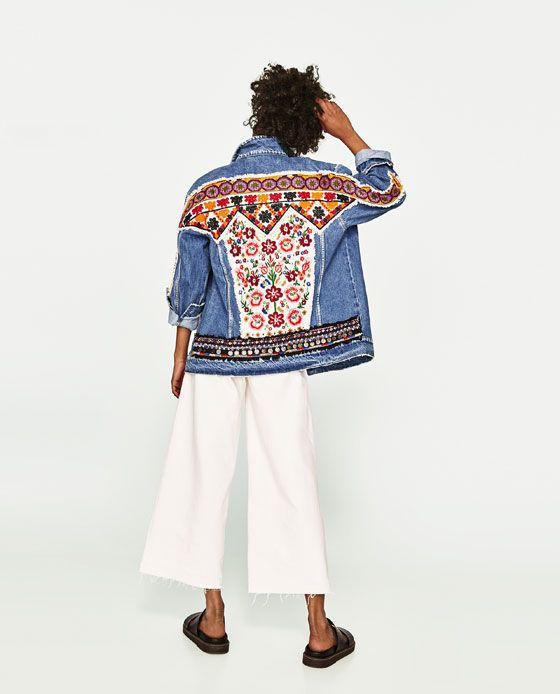 jeansjacke mit stickerei fashion flower power. Black Bedroom Furniture Sets. Home Design Ideas
