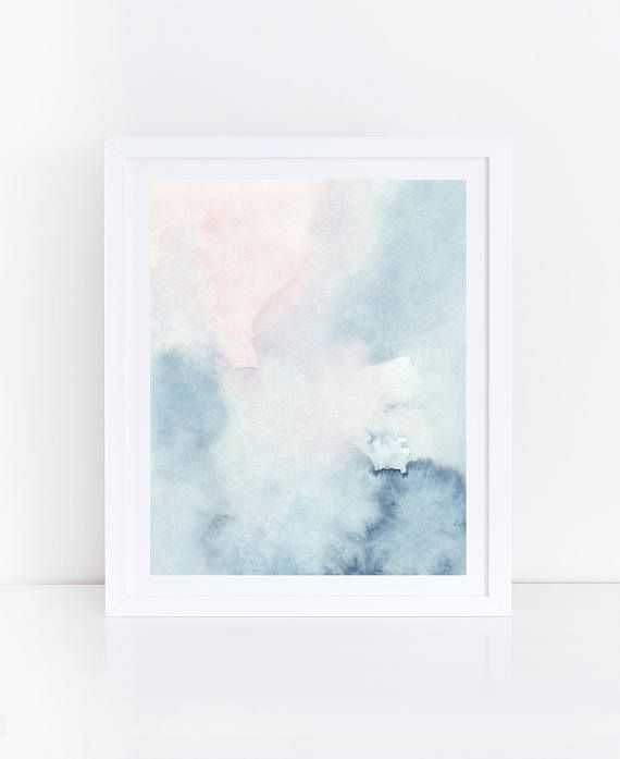 Blue Teal Wall Decor Blush Pink Watercolor Abstract Art