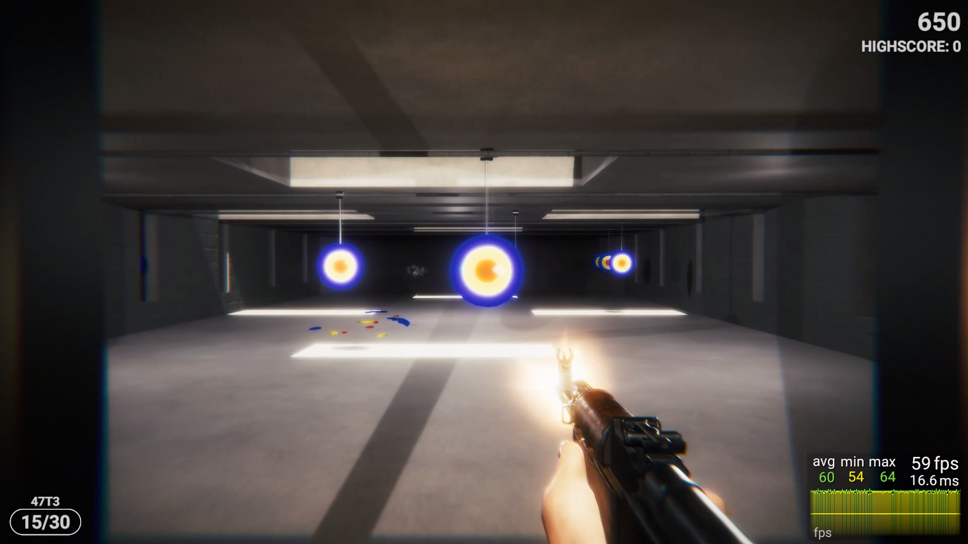 I made a target practice game to test the gun mechanics for