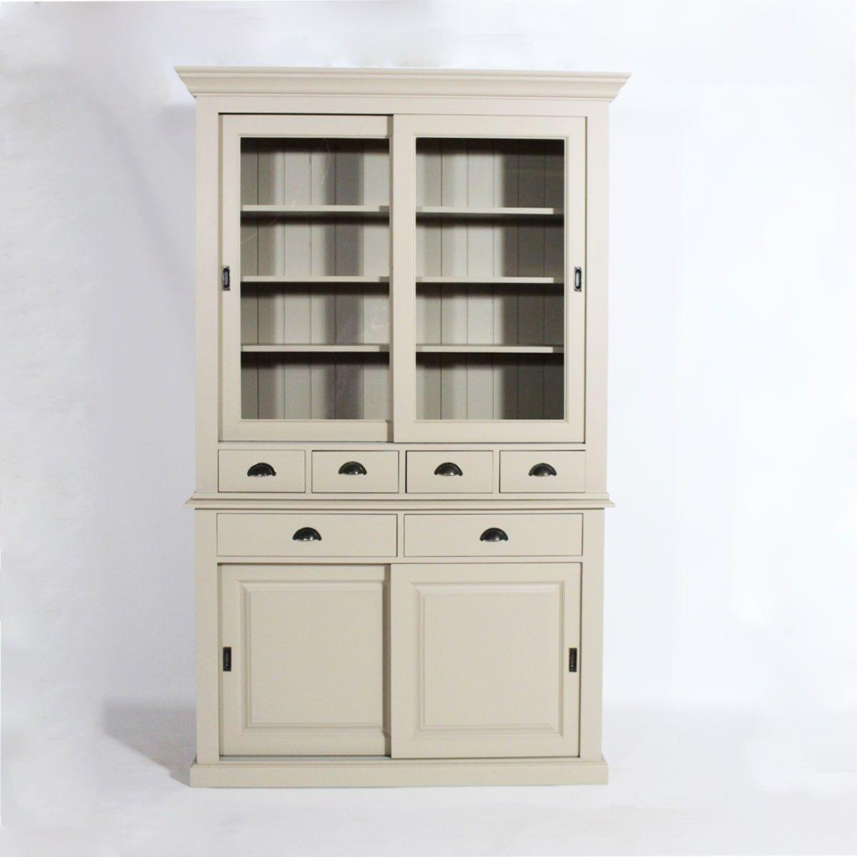 Buffet vaisselier bois taupe 4 portes coulissantes 6 tiroirs vaisselier made in meubles - Meuble buffet bois ...