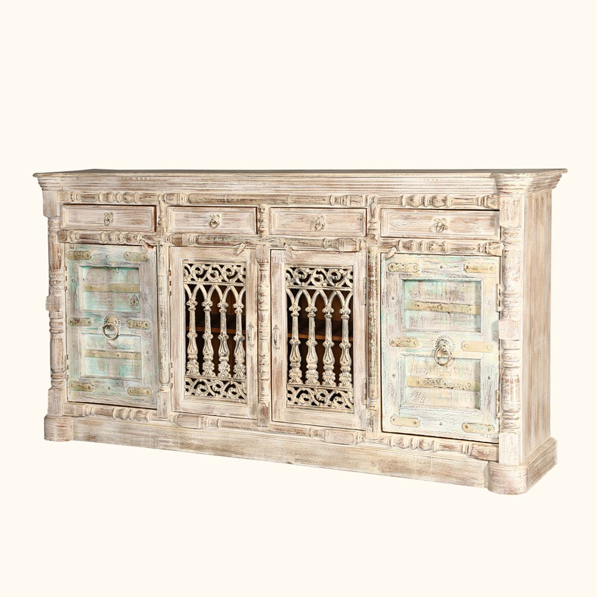 Palazzo 85 Cathedral Door Solid Wood 4 Drawer Rustic Buffet Sideboard Rustic Buffet Sideboard Buffet Rustic Cabinets