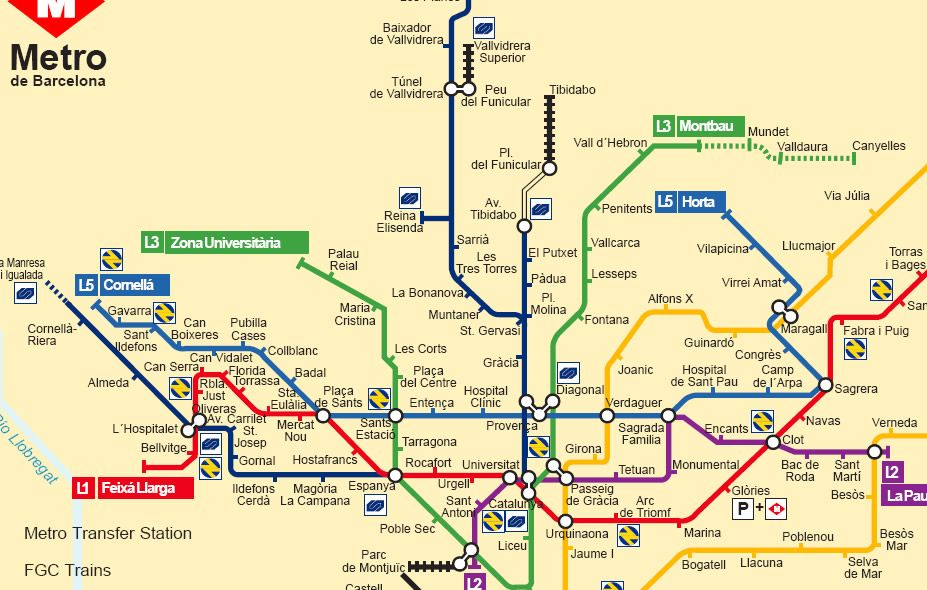 Metro map of Barcelona Spain Travel in Spain Pinterest