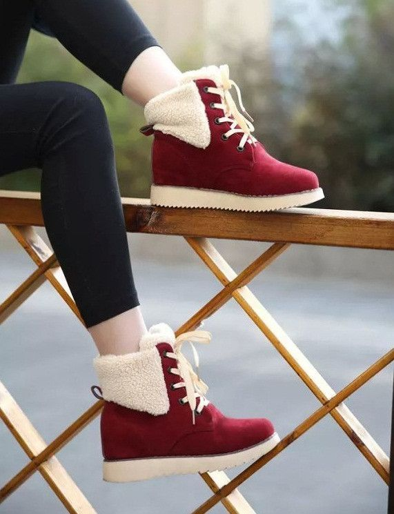 733e2ef638e Charming high-top casual boots for the stylish woman - Cotton fur lining for