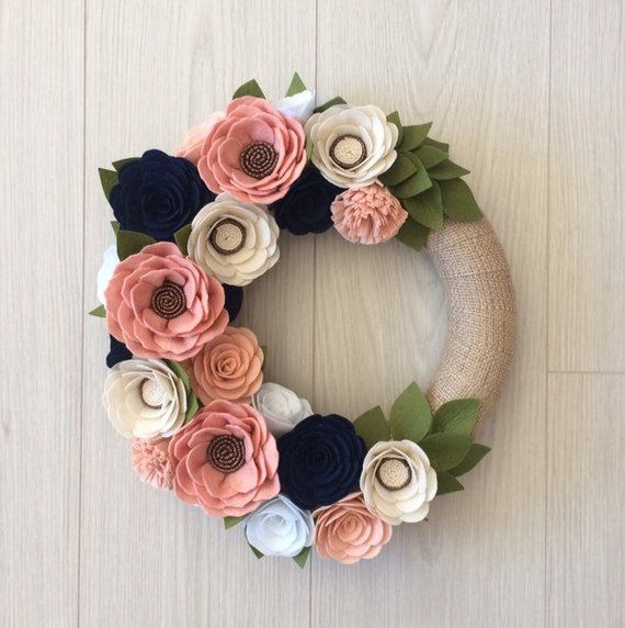 Photo of Spring wreath, Easter wreath, summer wreath, felt wreath, felt flower wreath, wreaths, wreath summer, Mother's Day gift