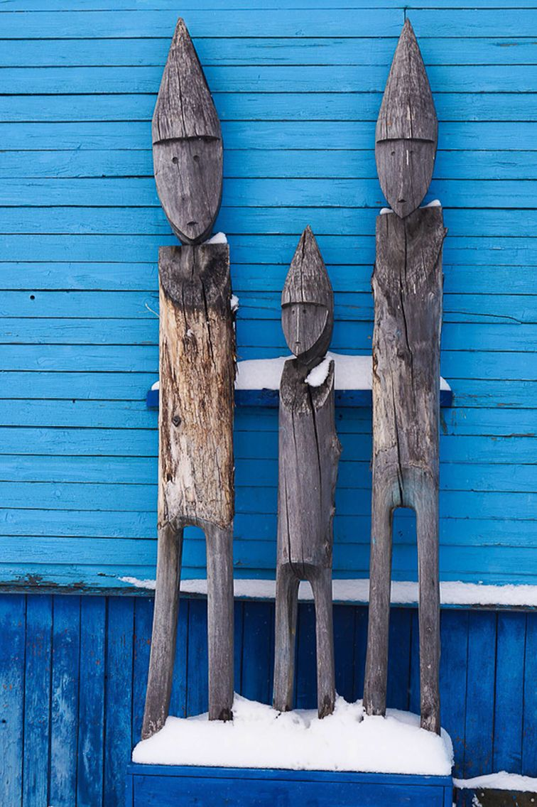 """""""Nanai idols"""", Amur River region. These were images of Ongon (protective spirit-helpers).  They were not worshiped as """"idols""""."""