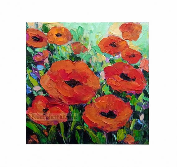 Poppy flower small oil paint impasto textured hand embellished poppy flower small oil paint impasto textured hand embellished giclee canvas print from my original framed option wall art gift for her 6x6 mightylinksfo Image collections