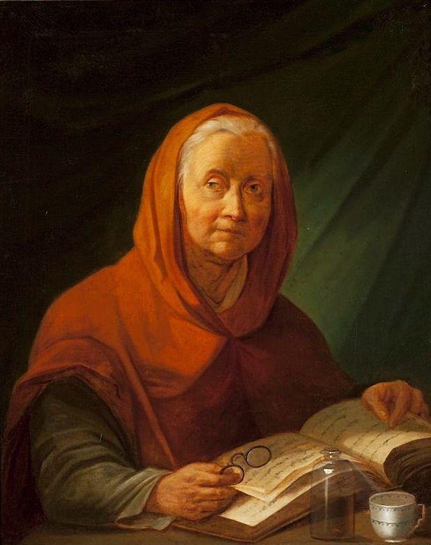 Jean-Pierre Norblin de La Gourdaine, Old woman reading a book, 1800.