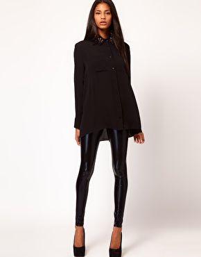 e3c887ea4acbac $28 Asos Asos Leggings, Leggings Fashion, Wet Look Leggings, Shiny Leggings,  Preppy