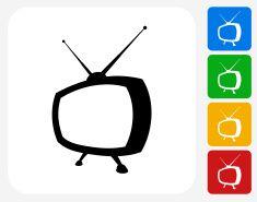Television Icon Flat Graphic Design vector art illustration