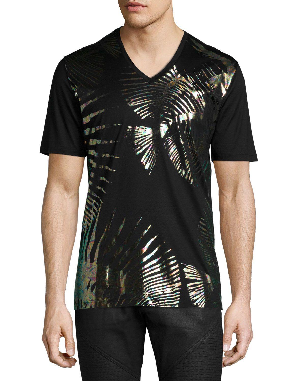 0a298c1d2 Versace Fish-foil Stamped V-neck T-shirt in Black for Men (BLACK MULTI) |  Lyst
