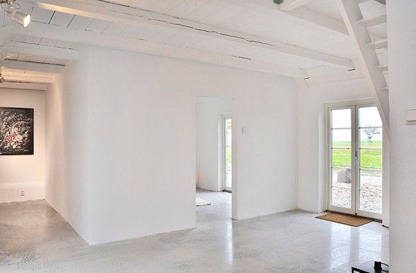 Scandinavian Retreat Concrete And White Sweden House Minimalist Home Painting Indoor Concrete Floors