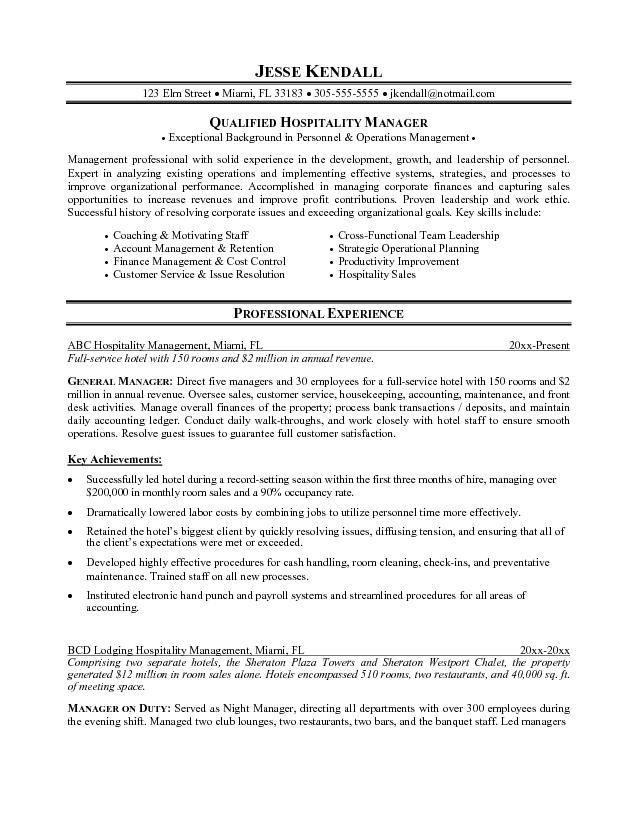 Resume Templates Hospitality Project Manager Resume Resume Examples Manager Resume