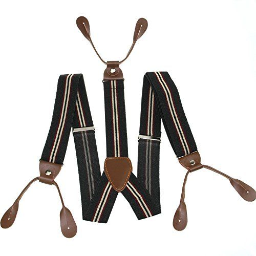 Casual Style Striped Suspenders Braces Adjustable 4 Clips Clip-on Width 0.98 Elastic