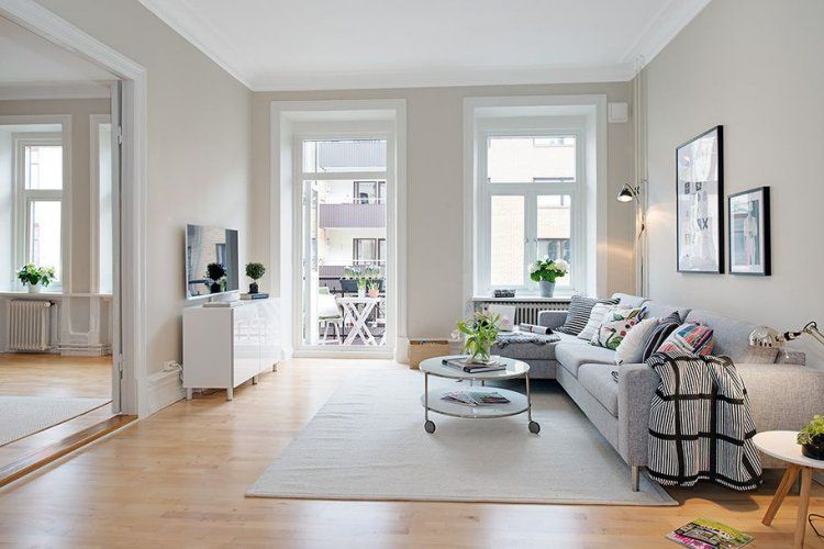 Bright Scandinavian Apartment With Cream Walls And Two Balconies Perfect Living Room Living Room Spaces Stylish Living Room