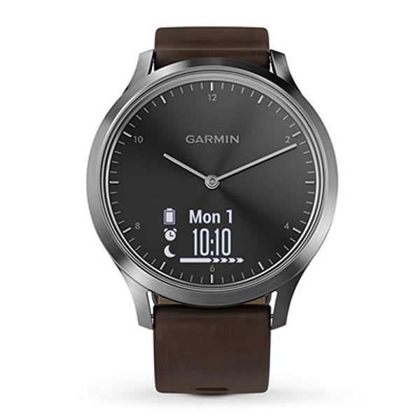 Garmin Vivomove Hr Hybrid Smart Watch 010 01850 14 Smart Watch Brown Leather Band Smartwatch Features