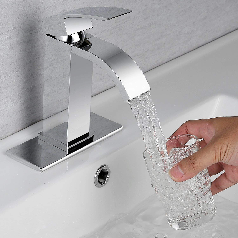 Waterfall Bathroom Sink Faucet Set Doris F001 Single Handle Bathroom Sink Faucet For Single Hole And 3 Sink Faucets Bathroom Sink Faucets Sink Drain Stopper