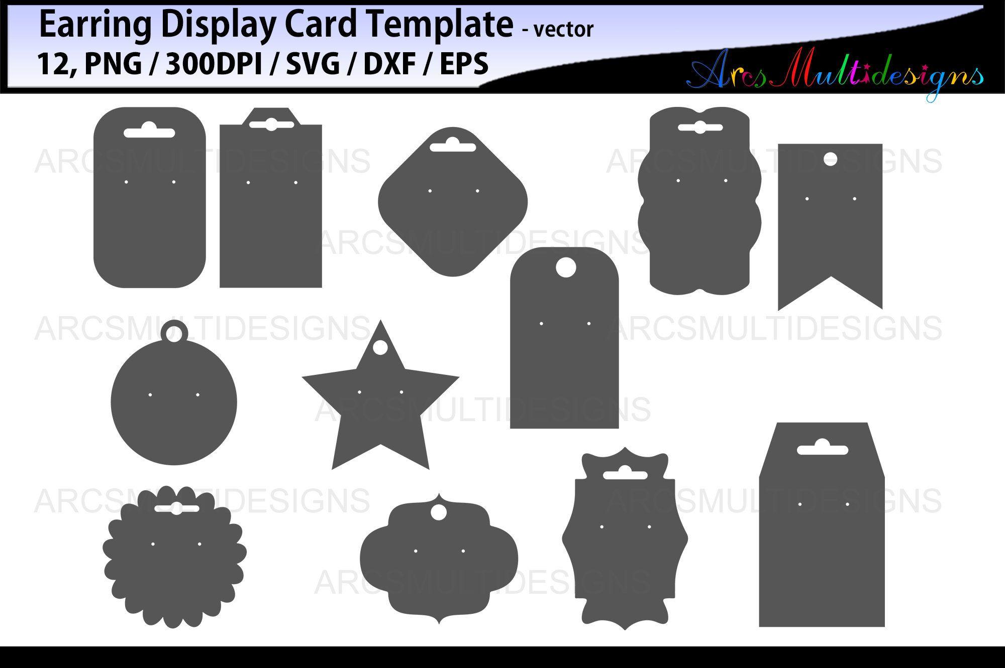 Earring display cards svg printable earring display card