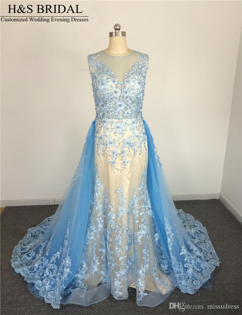 Real Picture vestido de noiva casamento Sheer Neck Blue Wedding ...