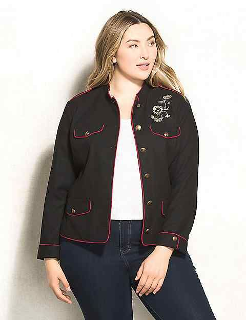 e1b049f101 WESTPORT Plus Size Embroidered Military Jacket