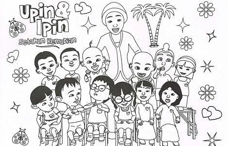 Upin Ipin Family Coloring Page Family Coloring Pages Cartoon
