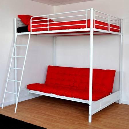 Lit mezzanine blanc avec banquettes rouges Maison-facile : www ...