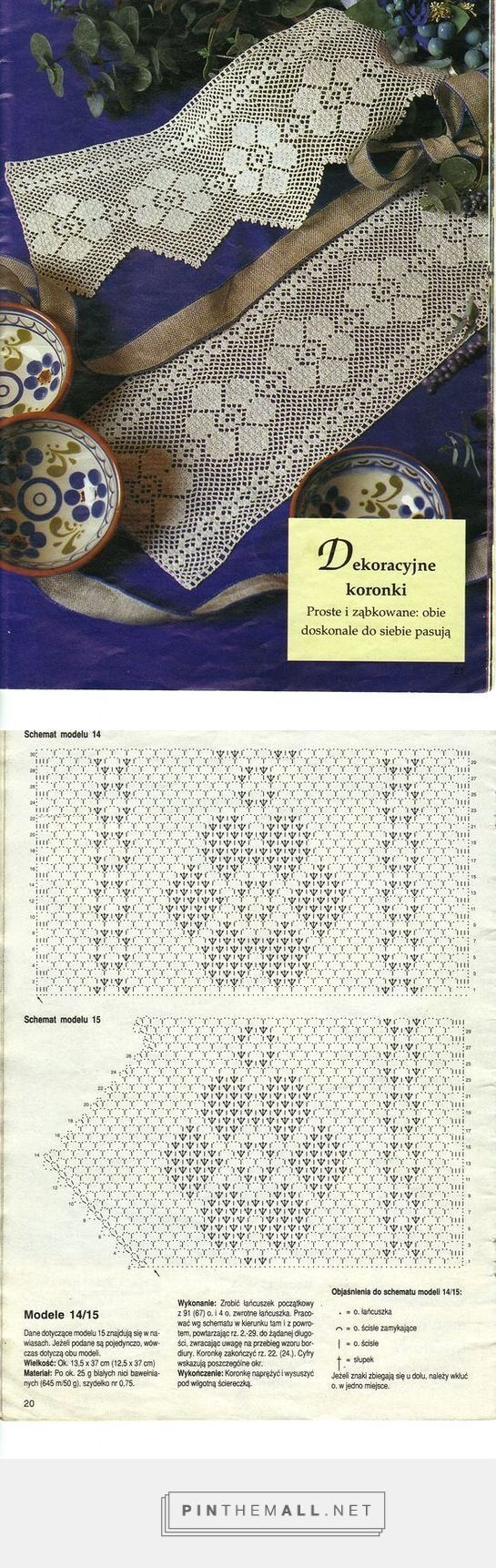 Filet crochet lace insert & edging with flower design: pike kenar dantel