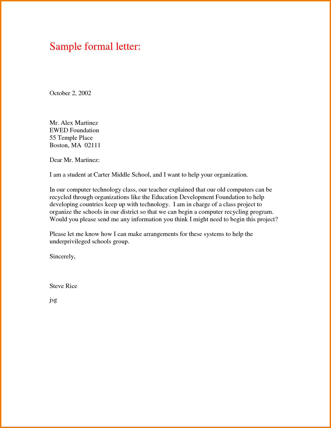 Thanking Letter Format Sample Formal Business Samples Contract
