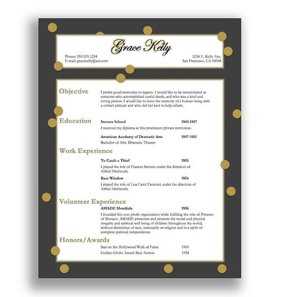 So cute Resume Template Grace Kelly Instant Download by - pretty resume template